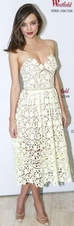 Who made Miranda Kerr's white lace spaghetti dress and cap toe pumps?
