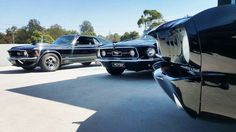 Mustangs in Black 1967 GT Convertible, 1966 Shelby GT350 and 1970 Mach 1 Fastback Ford Mustangs out for Jessica and John's wedding in Melbourne.