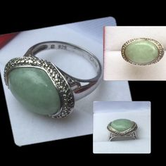 Jade Ring Set in Sterling SilverHallmarked 925 RSize 6Genuine JadeFantastic Pre Loved Condition Jewelry Rings