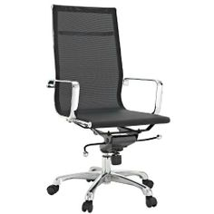 "LexMod Regis All-Black Mesh High Back Conference Office Chair by LexMod. $229.00. Tilt control. Breathable mesh. Adjustable height. The Regis All-mesh Office Chair is a clean lined stylish choice. Built to last and comfortable, its mesh construction makes it comfortable in all weather. Dimensions: 47""H x 25""W x 25""D"