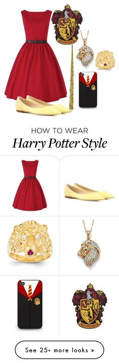 """Gryffindor prom"" by slytherinprincess1904 on Polyvore featuring Kevin Jewelers, Jimmy Choo, Palm Beach Jewelry and HermioneGranger"