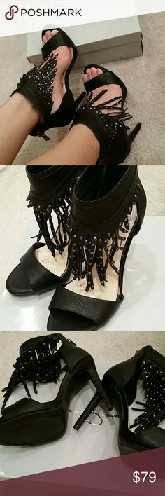 "Sexy!!!!Brand new Jessica Simpson stilleto Wow! Super sexy, brand new Jessica Simpson black leather stilleto heels. Gorgeous studded leather fringe detail along the ankle and 4.5"" heels. Size 7.5, true to size. Very nice soft leather material and super comfortable. No PayPal or trades. Jessica Simpson Shoes"