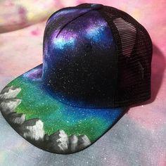 Custom Painted Galaxy Flat Bill Snapback Trucker Hat - Milky Way Forest 93413d7140aa