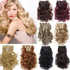 Clip On Hair Extension Natural Hairpieces Hair Piece Wavy Curly Synthetic Clip In Hair Extensions 999 Beauty Hair Extensions, Synthetic Hair Extensions, Clip In Hair Extensions, Permed Hairstyles, Weave Hairstyles, Boucle Wavy, Extension A Clip, Feather Hair Pieces, Curly Hair Styles