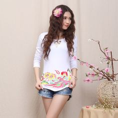 Mandarin Style Modern Scoop Neck Shirt - White - Chinese Shirts & Blouses - Women