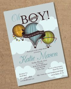 Oh Boy Lil Man Balloon Baby Shower Invitation by Gretchee on Etsy, $15.00, i dont know about a boy named katie though
