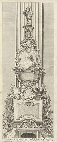 Epitaphe de marbre et bronze de Mr. le Baron de Bezenval / executé a St. Sulpice de Paris, Juste Aurèle Meissonnier, Gabriel Huquier, Gabriel Huquier, 1747 - 1748