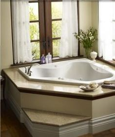 Primo® Corner Bath Step or no step ? Can't decide. Not sure how it will work with an access panel on the side of the tub. Corner Jetted Tub, Corner Tub, Spa Tub, Jacuzzi Tub, Garden Tub Decorating, Decorating Ideas, Bathtub Decor, Bathtub Remodel, New Toilet