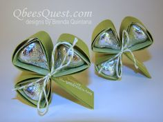 Qbee's Quest: Hershey's Shamrock - Tutorial for cute, little Saint Patrick's Day favors with three Hershey's kisses.