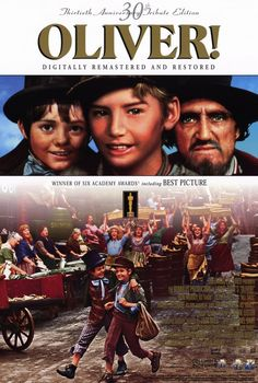 , Musical adaptation about an orphan (Dickens' Oliver Twist – Mark Lester) who runs away from an orphanage and hooks up with a group of boys trained to be pickpockets by an elderly mentor (Fagin – Ron Moody). Oliver Twist, Oscar Best Picture, Best Picture Winners, Alec Guinness, Water For Elephants, Artful Dodger, Movies Playing, Film Music Books, Great Movies