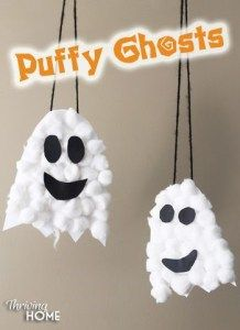 Puffy Ghosts These fun, friendly ghosts will be great decorations to hang around the house! Materials needed include: white cardstock paper, scissors, glue, cotton balls, and black paper. Start by cutting a ghost shape into the cardstock paper. Glue cotton balls until the ghost is covered. Cut out eyes and a mouth and glue them on top of the cotton balls. You can add string to the back of the ghost in order to hang it up in your house. Have your child say a target word or sentence before…