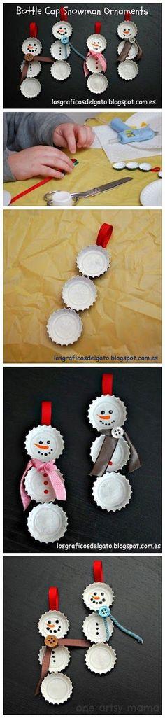 Hazlo tú mismo DIY: muñecos de nieve con chapas de refrescos... (Guarda la imagen en tu ordenador para verla aumentada)