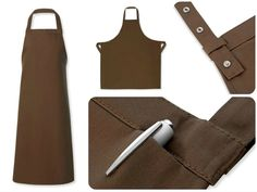 Cocoa Brown Stud Halter Apron, hidden welted pocket, reinforced ties and neck halter. Perfect for chefs or front of house