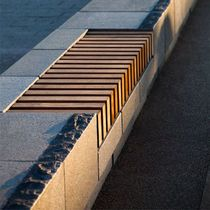Public bench / contemporary / in wood