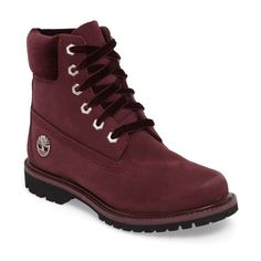 Women's Timberland 6-Inch Premium Boot ($170) ❤ liked on Polyvore featuring shoes, boots, burgundy nubuck, nubuck shoes, timberland footwear, lug sole boots, waterproof footwear and waterproof boots