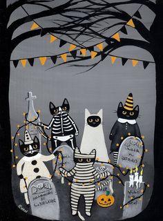Decorating the Graveyard Original Halloween Cat by KilkennycatArt, $85.00