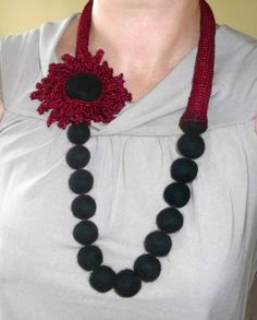 Felted+boho+necklace+Mother's+day+Wine+red+garnet+black+by+astash