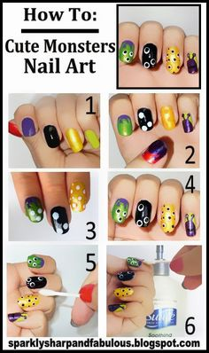 ManiCure Inspiration by Suave and Q-tips Learn how to get this Cute Monsters Nail Art look with me! Nail Art Diy, Cool Nail Art, Diy Nails, Cute Nails, Pretty Nails, Nail Art Halloween, Holiday Nail Art, Halloween Nail Designs, Halloween Halloween
