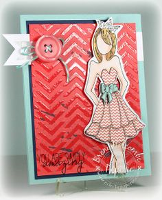 Prima Doll Stamp; Quite Like You WPlus9 Saying; Mini Chevron Stencil, Balzer Designs; Fancy Pants Trendsetter Paper; SU! Night of Navy, Versamark & Archival jet black ink; silver Stickles; Clear embossing powder