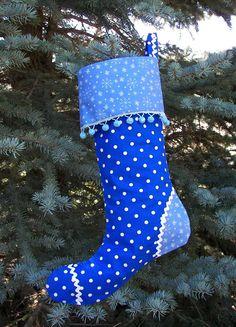 Christmas Stocking in blue polka dot.