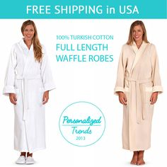 This elegant shawl velour collar spa robe is designed to provide the utmost in cozy comfort and style. The 100% Turkish Cotton waffle spa robe