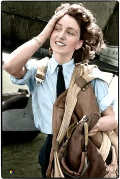 Maureen Dunlop (aged 24), an Air Transport Auxiliary (ATA) pilot, in front of a Fairey Barracuda dive bomber, featured on the front cover of the 'Picture Post' magazine 16th September 1944.