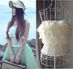 White Lace Tanktop Vest Blouse Pure Princess Fairy Style Chiffon Skirt Fashion Ladies' Woman Tanktops T-Shirt Tank Top Camis $22.98