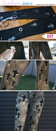 tutorial photos on how to make pattern cross jeans #bleach #jeans #bleachjeans (Diy Shirts Dye)