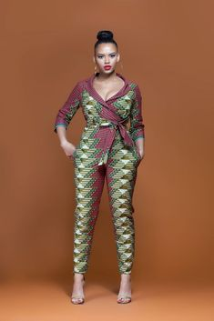 Breathing new life into your everyday wardrobe, this bold, daring, and colourful African Print Jumpsuit with pockets and for a fuller figure has been designed to complement and enhance your figure with effortless ease. African Attire, African Wear, African Dress, African Style, African Beauty, African Print Fashion, African Fashion Dresses, African Prints, African Print Jumpsuit