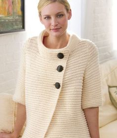 "Knit Ribbed Cardigan Free Pattern. Cute garter stitch cardigan knitting pattern. Designed by Heather Lodinsky. Directions are for size Small; changes for sizes Medium, Large, XLarge and XXLarge are in parentheses. Finished Bust: 38 (42, 46, 50, 54)"" Finished Length: 21½ (22, 22, 22½, 23)"" RED HEART® ""Eco-Ways®"": 7 (8, 9, 10, 10) balls 3313 Oyster. Knitting Needles: 5 mm [US 8]. Circular Knitting Needles: 5 mm [US 8] 24"" long. 3 buttons 2"", 1 hook and eye or magnetic closure, yarn needle…"