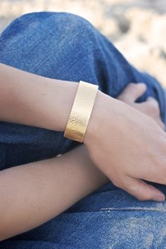 Gold metallic Leather  Wrist Wrap by patkas on Etsy, $5.00