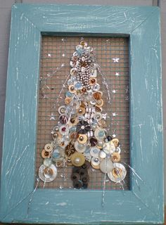 Buttons,Rhinestones, Beads Tree in Blue Frame