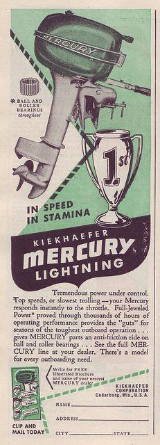 Vintage Advertising For Kiekhaefer Mecury Lightning Outboard Motor, From Popular Mechanics Magazine, April 1948 Mercury Motors, Outboard Boat Motors, Mercury Marine, Boat Engine, Vintage Boats, Old Boats, Boat Stuff, Mechanical Design, Popular Mechanics
