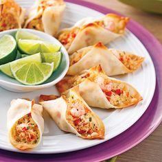 Crab and Shrimp Wonton Mini-tacos – Recipes – Cooking and Nutrition – Pratico Pratique Mini Tacos, Taco Appetizers, Appetizer Recipes, Carne Asada, Taco Bar, Antipasto, Wonton Tacos, Fingers Food, Seafood Recipes