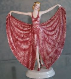 The charmer in red lace holding out her full skirt (an attitude common in Goldscheider figures) is worth about Goldscheider, Devon, Country Woman Magazine, Antique Appraisal, Art With Meaning, Pink Images, Country Women, China Girl, Bronze