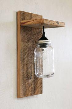 Mason jar light fixture Reclaimed wood wall sconce