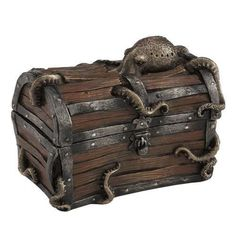 "5"" Steampunk Octopus Treasure Chest Trinket Box Fantasy Home Decor Statue"