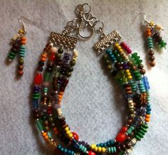 On MAJOR sale! Save $15 now! 5 Strand Beaded Necklace and Matching Earrings by Eldwenne on Etsy, $65.00