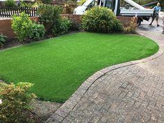 A front garden artificial grass installation of Trulawn Prestige Artificial Grass Installation, Lawns, Back Gardens, Playground, Sidewalk, Children Playground, Walkway, Walkways