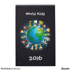 World kids calendar with 12 different countries. Kids, cute, kawaii, nationality, ethnic, globe.