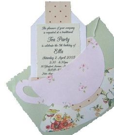 little: Parties: High Tea Tea Party Menu, Tea Party Favors, Tea Party Invitations, Tea Party Decorations, Party Party, Shower Invitations, Girls Tea Party, Princess Tea Party, Tea Party Birthday