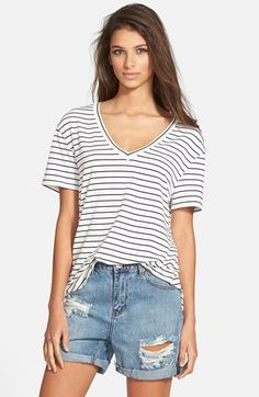 Leith Curved Hem Nautical Tee available at #Nordstrom