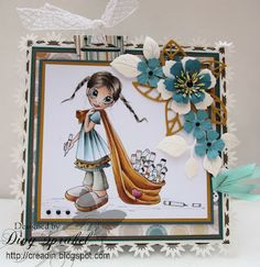 Feest!!!   Decorations: Marianne Designs, Cottage Cuts, Tim Holtz, Nellie Snellen punches;  Copics: Skin: E000-00-11-13; Hair: E44-42-40-49; Dress: BG70-72-78, W7; Pants: BG90-93-W7; Shoes and Copic: W00 1-3; Travelbag: YR20-21-24-27-14; Heart: R81-85