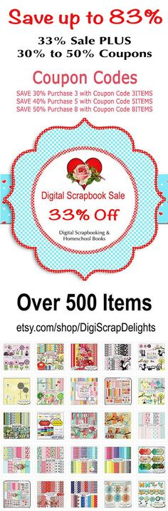 SUPER END OF SUMMER SALE! UP TO 83% OFF! Prices NEVER this low! Coupon Codes #Scrapbook #Scrapbooking #Digital #Clipart #Sale  #ProjectLife