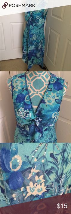 Rag brand Dress Nwot! Rag brand Dress . Size-large. Colors- turquoise, sea foam green, light blue,white, gorgeous floral print. Small sequins. Lined . Sleeveless. Pretty neckline!! rag Dresses Asymmetrical