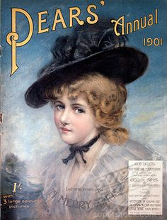 Portrait of a Woman in a Black Hat, 1901, Nostalgia Cards, Pears Annual