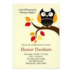 143 best halloween baby shower invitations images on pinterest cream halloween owl autumn baby shower invite 5x7 filmwisefo