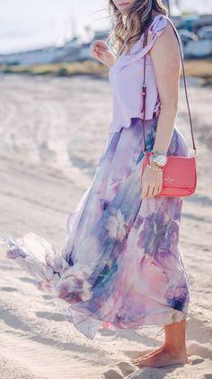 Watercolor skirt in purple