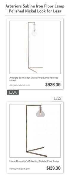 Arteriors Sabine Iron Glass Floor Lamp Polished Nickel vs Home Decorator's Collection Cloister Floor Lamp