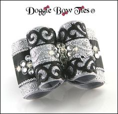 Full Size Silver Black Venetian Lace Show Dog Bow by Doggie Bow Ties. An original design.